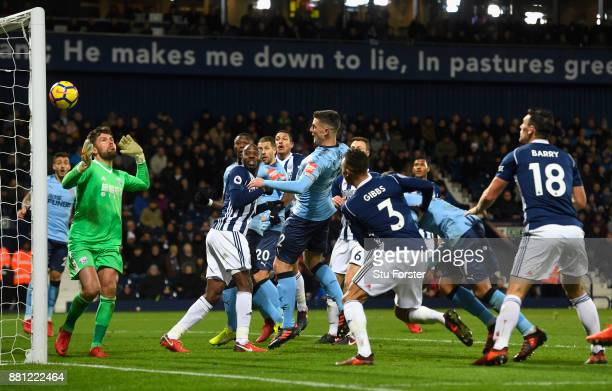 Ciaran Clark of Newcastle United scores the first Newcastle goal during the Premier League match between West Bromwich Albion and Newcastle United at...