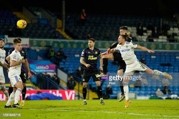 Ciaran Clark of Newcastle United scores their team's second goal during the Premier League match between Leeds United and Newcastle United at Elland...