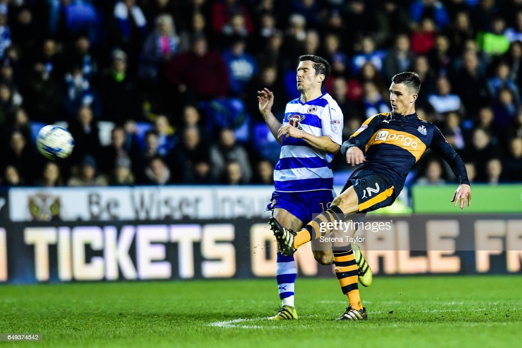 Ciaran Clark of Newcastle United (02) strikes the ball during the Sky Bet Championship Match between Reading and Newcastle United at the Madjeski Stadium on March 7, 2017 in Reading, England.