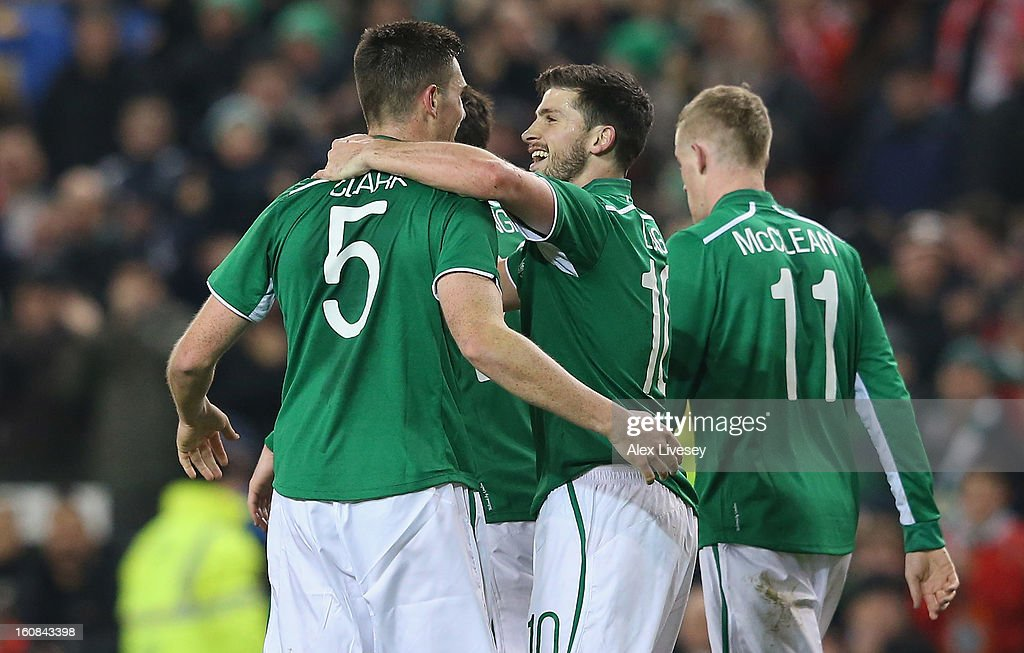 Ciaran Clark of Republic of Ireland celebrates with Shane Long after scoring the first goal during the International Friendly match between Republic of Ireland and Poland at Aviva Stadium on February 6, 2013 in Dublin, Ireland.