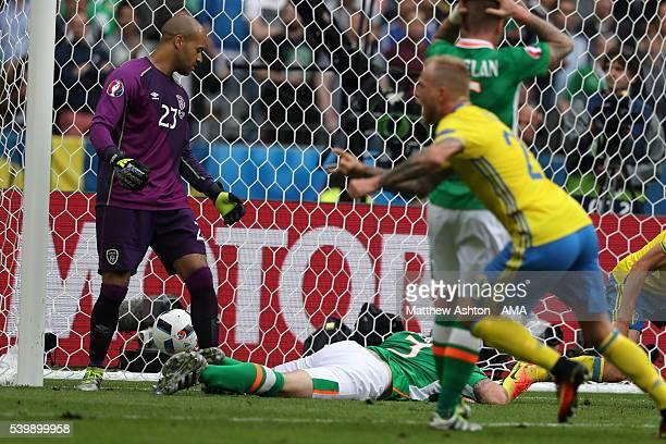 Ciaran Clark of Republic of Ireland scores an own goal to make it 11 during the UEFA EURO 2016 Group E match between Republic of Ireland and Sweden...