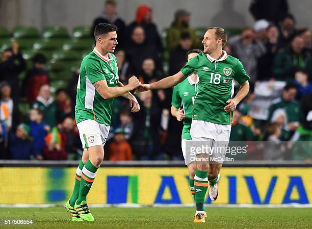 Ciaran Clark of the Republic of Ireland celebrates with David Meyler after scoring during the international friendly match between the Republic of...