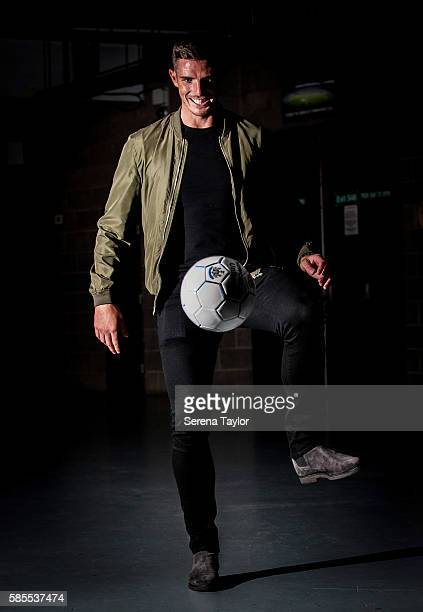 Ciaran Clark plays keeping up for photographs with a newcastle ball at StJames' Park on August 2 in Newcastle upon Tyne England