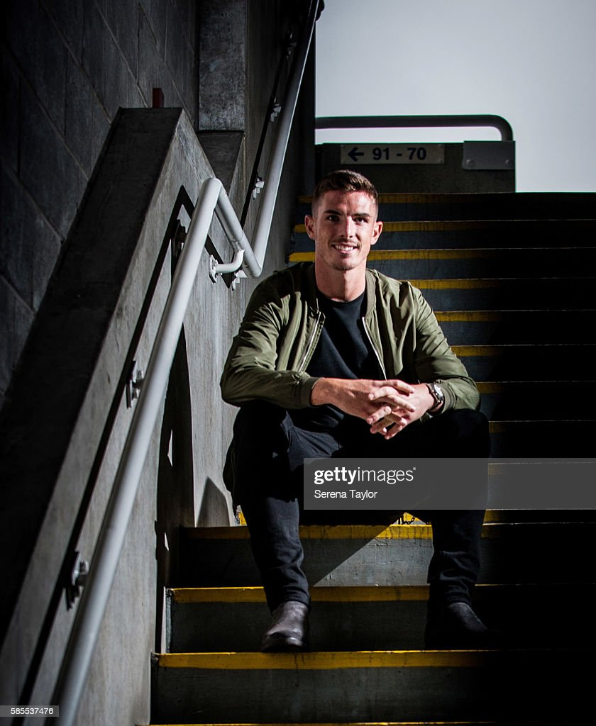 Ciaran Clark poses for photographs on the steps at St.James' Park on August 2, 2016, in Newcastle upon Tyne, England.