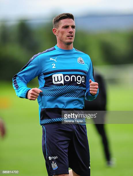 Ciaran Clark runs during the Newcastle United training session at the Newcastle United Training Centre on August 4 in Newcastle upon Tyne England