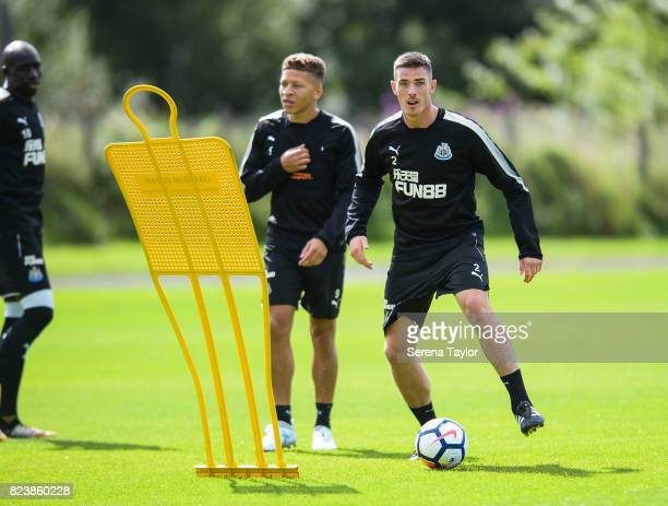Ciaran Clark waits to receive the ball during the Newcastle United Training session at the Newcastle United Training ground on July 28 in Newcastle...