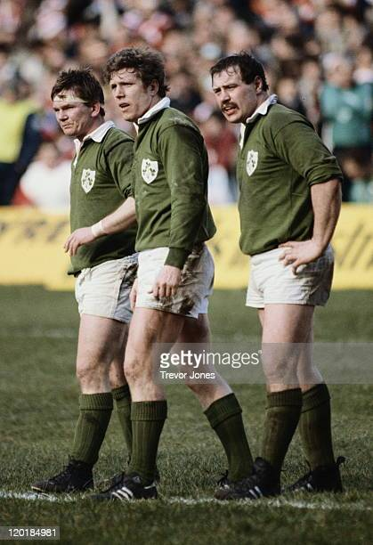 LR Ciaran Fitzgerald and Fergus Slattery of Ireland during the Five Nations Championship game against France on 19th February 1983 at Lansdowne Road...