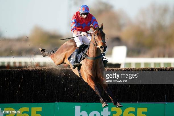 Ciaran Gethings riding Clondaw Castle clear the last to win The MansionBet Chase at Huntingdon Racecourse on February 21 2019 in Huntingdon England