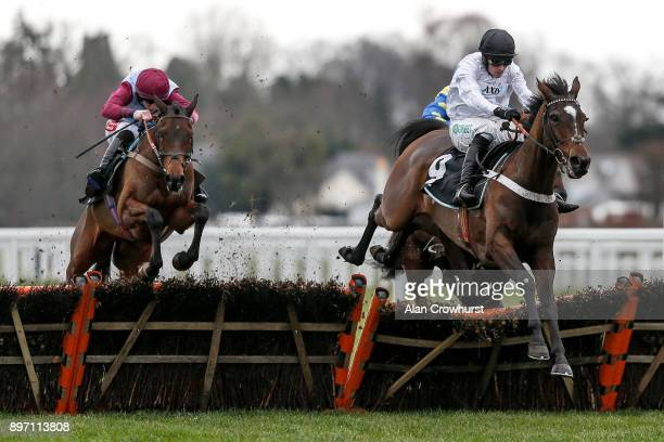 Ciaran Gethings riding Clondaw Native clear the last to win The Eventmasterscouk Maiden Hurdle Race at Ascot racecourse on December 22 2017 in Ascot...