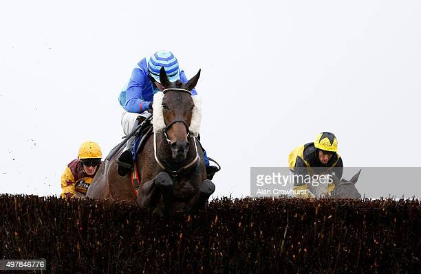 Ciaran Gethings riding Distracted clear the last to win The Wincanton Interactive Handicap Steeple Chase at Wincanton racecourse on November 19 2015...