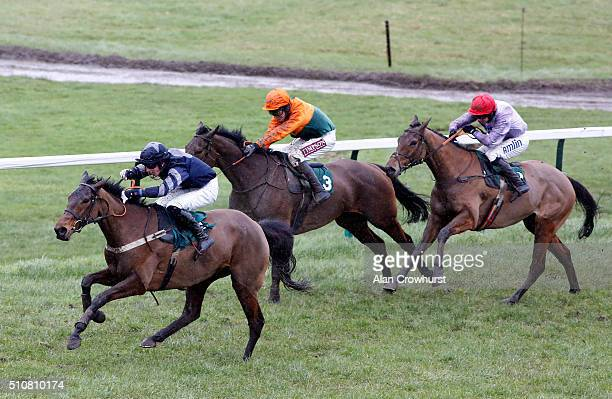 Ciaran Gethings riding Georgian Firebird clear the last to win The Haygain Hay Steamers Clean Healthy Forage Novices' Hurdle Race at Towcester...