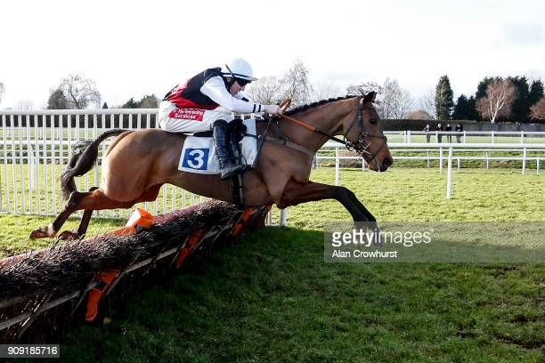 Ciaran Gethings riding Kaloci clear the last to win The British Stallion Studs EBF Mares' National Hunt Novices Hurdle Race at Leicester racecourse...