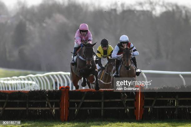 Ciaran Gethings riding Kaloci on their way to winning The British Stallion Studs EBF Mares' National Hunt Novices Hurdle Race at Leicester racecourse...