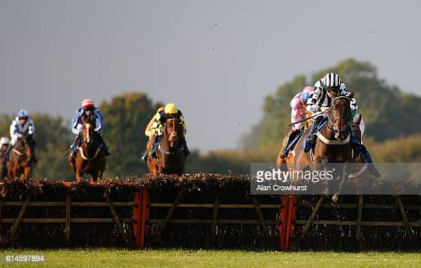 Ciaran Gethings riding Milan Of Crystal clear the last to win The Bathwick Tyres Back For The Season Handicap Hurdle Race at Wincanton Racecourse on...