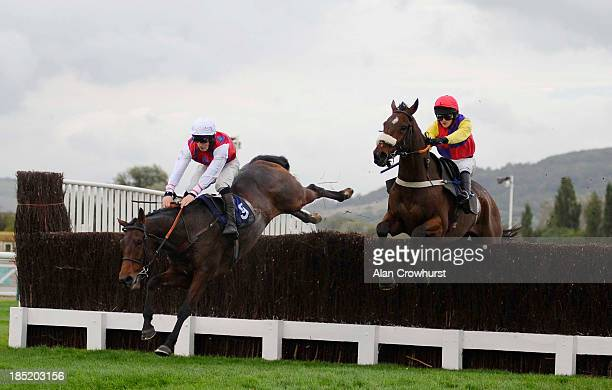 Ciaran Gethings riding Oscar Davy fall at the last in The Fie Country North Cotswolds Amateur Riders' Handicap Steeple Chase at Cheltenham racecourse...