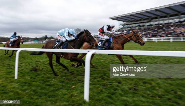 Ciaran Gethings riding Queenohearts win The EBF Stallions/TBA Mares' Standard Open NH Flat Race at Sandown Park racecourse on March 10 2018 in Esher...