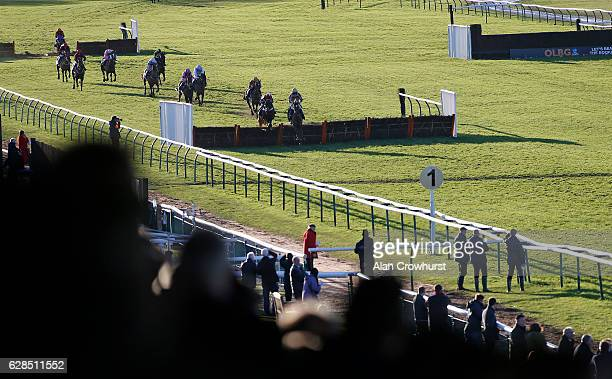 Ciaran Gethings riding Seas Of Green clear the last to win The Vendman Handicap Hurdle race at Warwick racecourse on December 08 2016 in Warwick...