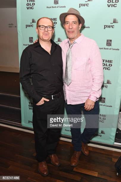 Ciaran Hinds and Conor McPherson attend the press night after party for 'Girl From The North Country' at The Old Vic Theatre on July 26 2017 in...