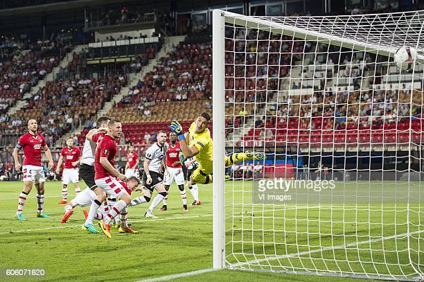 Ciaran Kilduff of Dundalk FC scores during the UEFA Europa League group D match between AZ Alkmaar and Dundalk FC on September 15 2016 at the AFAS...