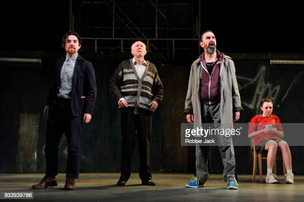 Ciaran O' Brien as The Young Covey Niall Buggy as Peter Flynn Phelim Drew as Fluther Good and Julie Maguire as Mollser in the Abbey Theatre's...
