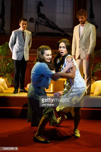 Ciarán Owens as Prince William, Kara Tointon as Catherine, Crystal Condie as Meghan and Tom Durant-Pritchard as Prince Harry during dress rehearsals...
