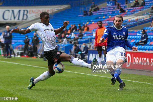 Ciaron Brown of Cardiff City FC and Michael Ihiekwe of Rotherham United during the Sky Bet Championship match between Cardiff City and Rotherham...