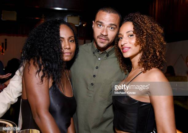 Ciarra Pardo actor Jesse Williams and Olivia Fischa attend Moet Chandon's Beats and Bites dinner series at The Nice Guy on May 21 2017 in Los Angeles...