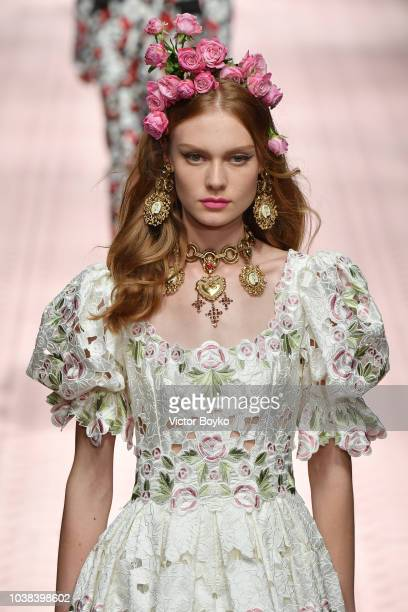 Cibele Ramm walks the runway at the Dolce Gabbana show during Milan Fashion Week Spring/Summer 2019 on September 23 2018 in Milan Italy