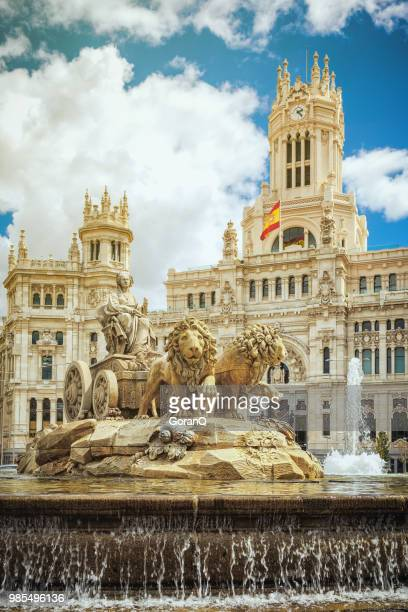 cibeles fountain at plaza de cibeles in madrid - madrid stock pictures, royalty-free photos & images