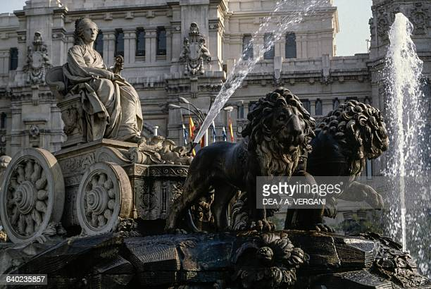 Cibeles fountain in the square of the same name Madrid Spain 18th century