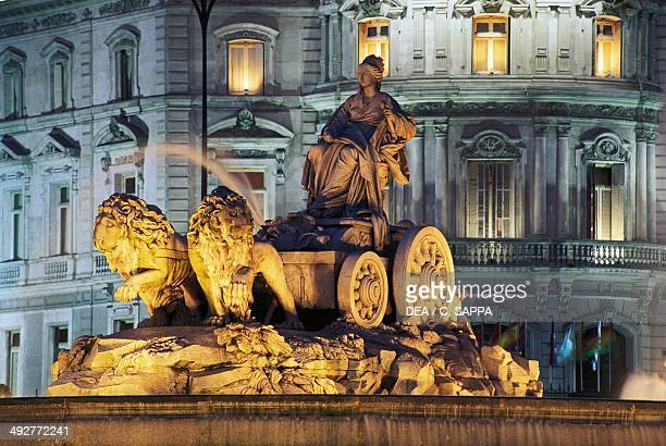 Cibeles fountain in the square of the same name Madrid Spain