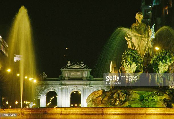 Cibeles Square Madrid View of the statue of Cybelles with the Alcala Gate behind