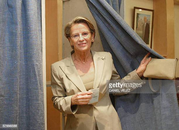 French Defence minister Michele AlliotMarie leaves the polling booth after voting for the EU Constitution's referendum 29 May 2005 in Ciboure...