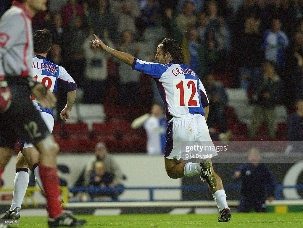 Grabbi of Blackburn Rovers celebrates scoring : News Photo