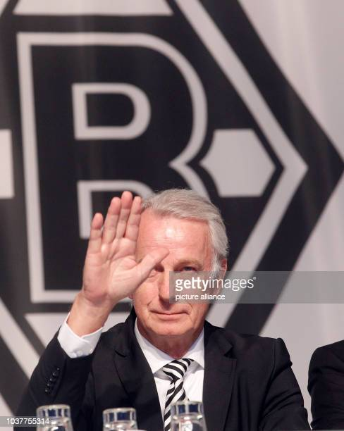 Cice president Rainer Bonhof of the German Bundesliga team Borussia Moenchengladbach sits on stage during the annual general meeting in...