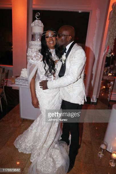 Cicely Evans and Treach celebrate their marriage at Waterside Reception Hall on September 08 2019 in North Bergen New Jersey
