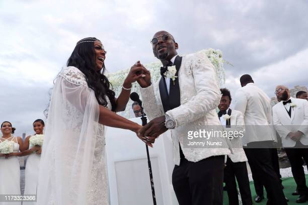 Cicely Evans and Treach during their wedding ceremony at Waterside Reception Hall on September 08 2019 in North Bergen New Jersey