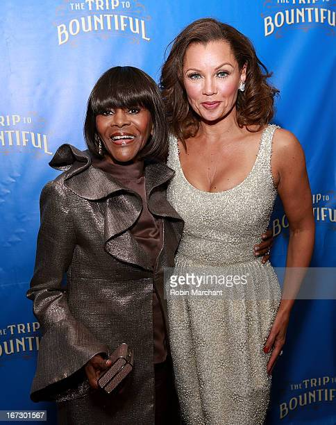Cicely Tyson and Vanessa Williams attend the after party for the Broadway opening night of 'The Trip To Bountiful' at Copacabana on April 23 2013 in...