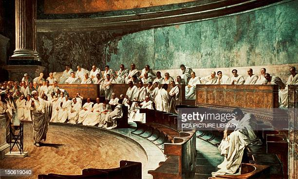 Cicero in the Senate denouncing Catiline by Cesare Maccari fresco from Palazzo Madama Rome Republican Italy 1st century BC