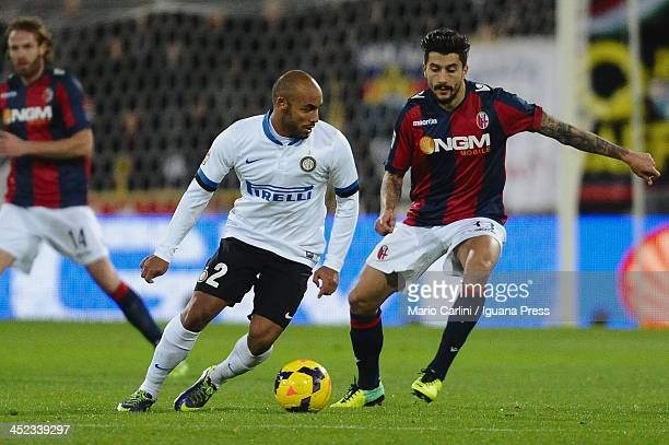 Cicero Jonathan of Internazionale Milano competes the ball with Panagiotis Kone of Bologna FC during the Serie A match between Bologna FC and FC...