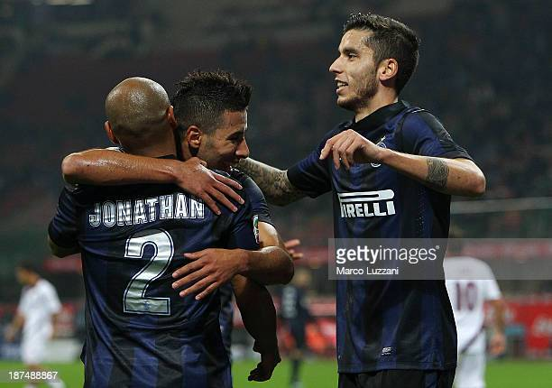 Cicero Moreira Jonathan Saphir Sliti Taider and Gabriel Ricardo Alvarez of FC Internazionale Milano players celebrate after Francesco Bardi of AS...