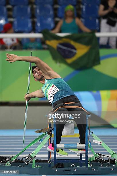Cicero Nobre of Brazil competes in the Men's Javelin Throw - F57 final on day 5 of the Rio 2016 Paralympic Games at the Olympic Stadium on September...