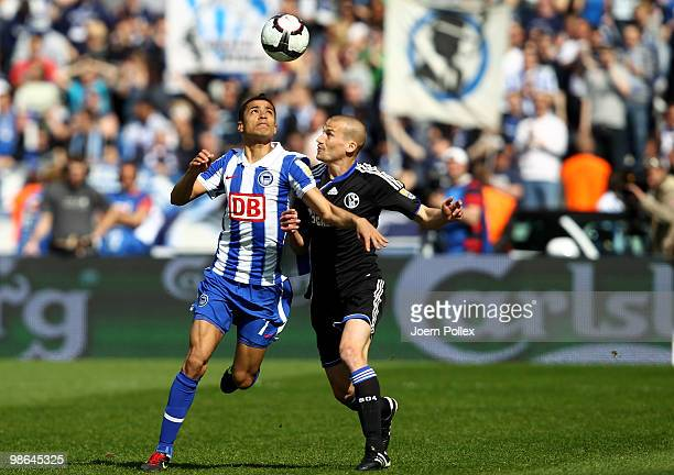 Cicero of Berlin and Peer Kluge of Schalke battle for the ball during the Bundesliga match between Hertha BSC Berlin and FC Schalke 04 at the Olympic...