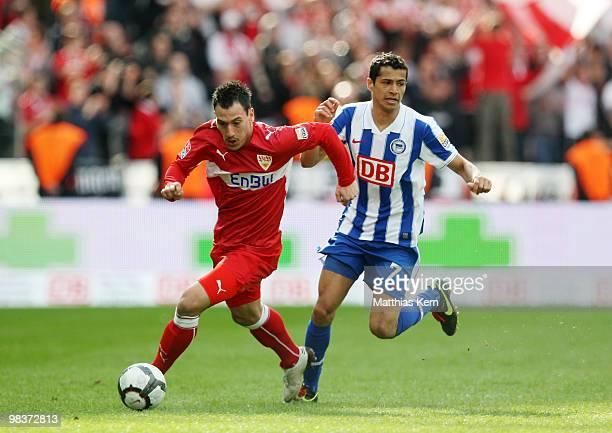 Cicero of Berlin battles for the ball with Timo Gebhart of Stuttgart during the Bundesliga match between Hertha BSC Berlin and VFB Stuttgart at...