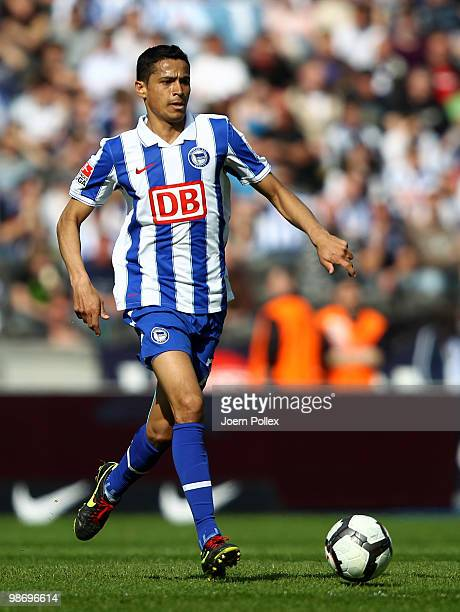 Cicero of Berlin plays the ball during the Bundesliga match between Hertha BSC Berlin and FC Schalke 04 at the Olympic stadium on April 24 2010 in...