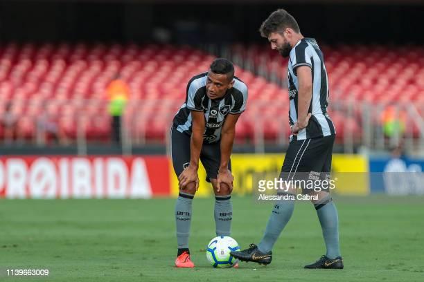 Cicero of Botafogo prepares for a kick during the match between Sao Paulo and Botafogo as part of Brasileirao Series A 2019 at Morumbi Stadium on...