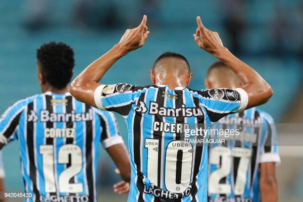 Cicero of Brazil's Gremio celebrates after scoring against Monagas of Venezuela during their Copa Libertadores 2018 football match at the Arena do...