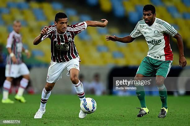 Cicero of Fluminense battles for the ball with Thiago Santos of Palmeiras during a match between Fluminense and Palmeiras as part of Brasileirao...