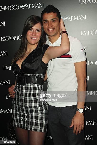 Cicero Santos Mit Giselle Avila Beim Cocktail Empfang Im Armani Store In Der Friedrichstrasse In Berlin