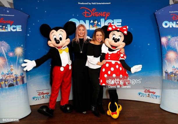 Cici Coleman and Laura Tott meet Mickey Mouse and Minnie Mouse for the opening night of Disney On Ice presents Worlds of Enchantment at The SSE Arena...